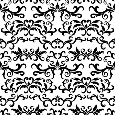 Seamless pattern with ornate Damask ornament on a white background. Design of curls and plant elements. Ideal for textile print and wallpapers.