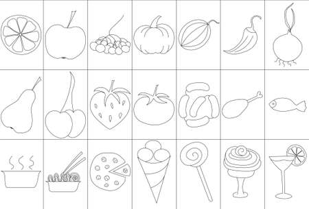Set of icons with food, dishes, fruits and vegetables