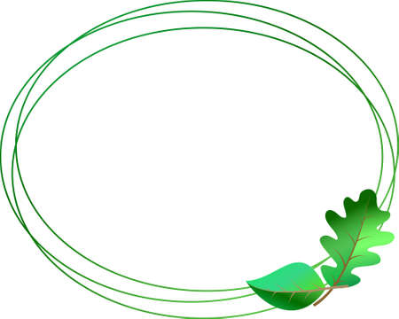 Triple spring green oval-shaped frame with garland of oak and birch leaves