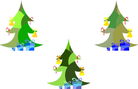 Set of three spotted New Year and Christmas trees with candy cane, fir, christmas tree and bells Illustration