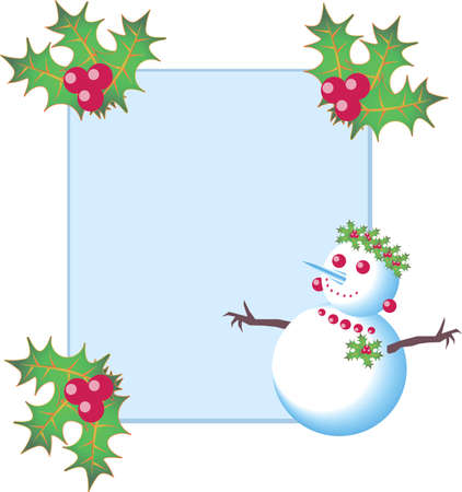New Year and Christmas frame for photo or card with happy and cute snowman, berries, leaves and mistletoe Ilustracja