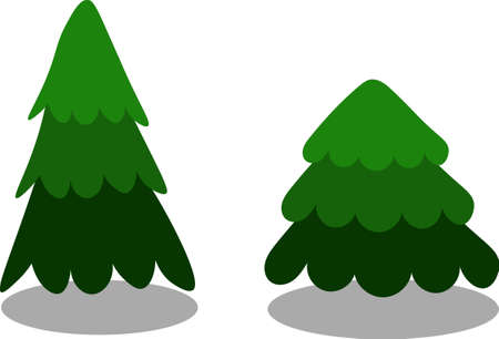Set of two green christmas trees drawn in the cartoon style on transparent background