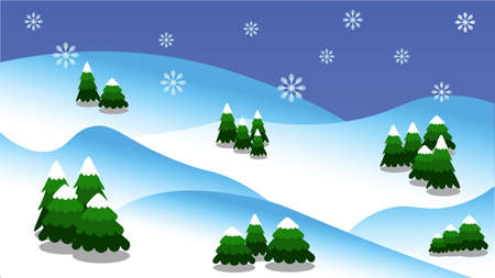 Winter forest landscape with Christmas trees and mountains in resolution 16: 9 Illustration