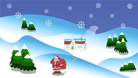 Landscape with Christmas trees, Santa and house in resolution 16: 9