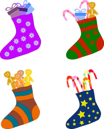 Set of Christmas socks with gifts, cookies and candy for New Year and Christmas decoration
