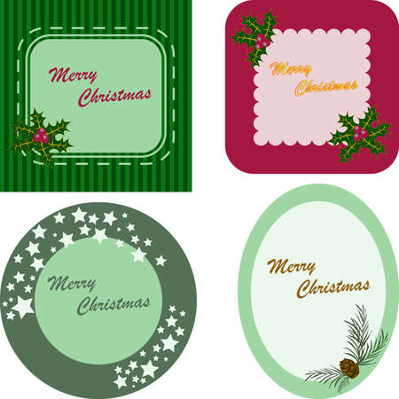 Set of colorful frames for New Year and Christmas greeting card