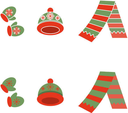 Set of cartoon winter apparel mittens, scarf, hat on transparent background
