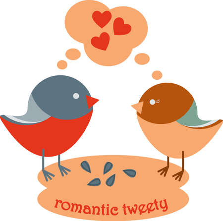 Romantic Valentine day composition with two birds fell in love and lettering