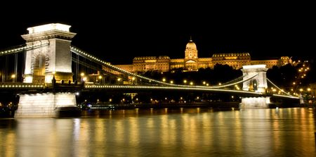 Night view of Buda Castle and Chain Bridge with illumination Stock Photo