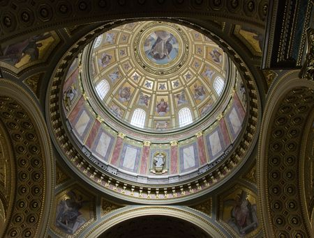 fresco: Dome with fresco in St Ishtvans Basilica Budapest Stock Photo