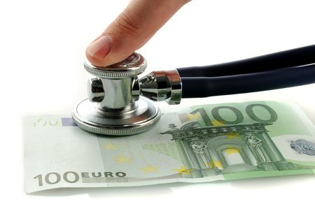 One hundred euro with stetoscope and finger
