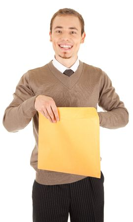 welldressed: Young well-dressed man in formalwear is holding a open yellow envelope. Isolated on white background.