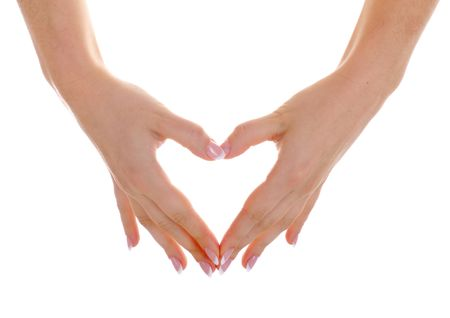 Female hands with nice french manicure show heart