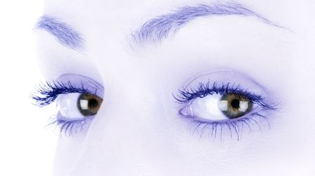 Brown female eyes in high key and light blue sepia Stock Photo - 6387741
