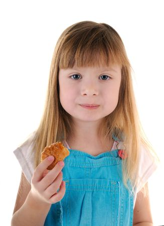 masticate: Small beauty eating pie girl on white background
