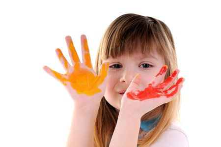 Small playful beauty girl with many-coloured hands on white background