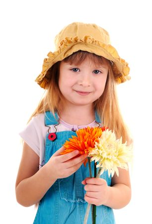 Beauty small girl with three flowers on white background photo