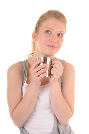 Casual blonde girl with metal cup is looking up and lovingly smile, isolated on white background Stock Photo - 6900760