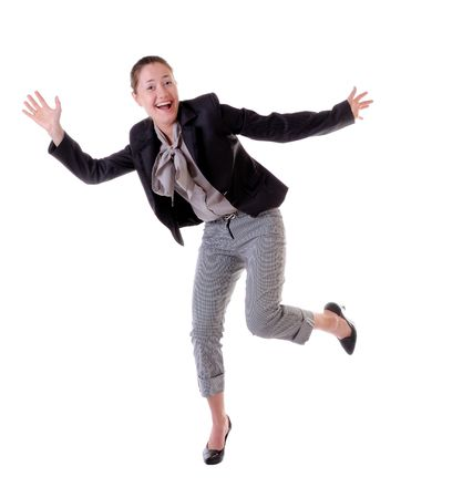 absolutely: Absolutely happy laughing and jumping woman isolated on white backgroung