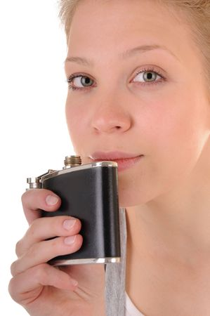 beatitude: Beauty blonde girl with flask is looking in the camera Stock Photo