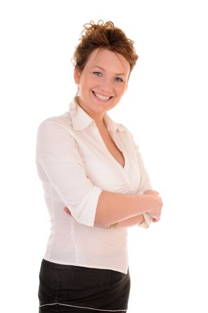 Attractive business woman in white blouse isolated on white background Stock Photo