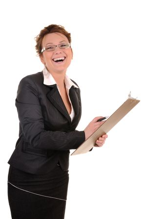 Laughing business woman with documents isolated on white background photo