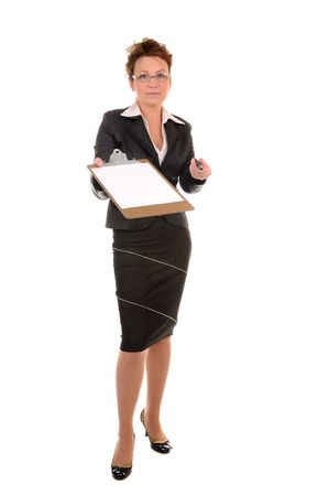 Serious middle-aged business woman with documents and pen for your signing isolated on white background Stock Photo - 7222822