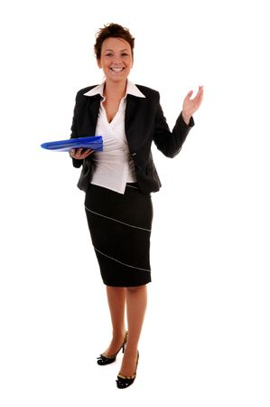 Attractive business woman with documents and invitation gesture standing on white background photo