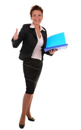alright: Attractive business woman with documents shows alright gesture on white background