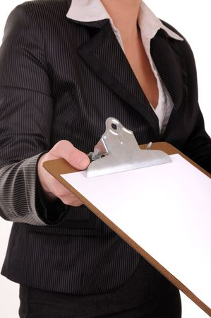 proposition: Document  in business woman hands with proposition for signature
