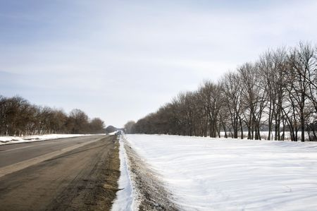 snow on the ground: Winter road in the country in Ukraine with blue sky and trees along the track