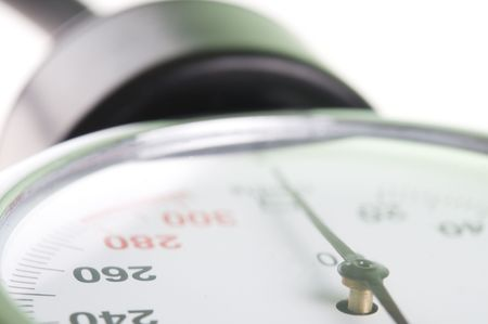 preasure: Medical manometer closeup with selective focus on 260 figure as concept of high blood preasure
