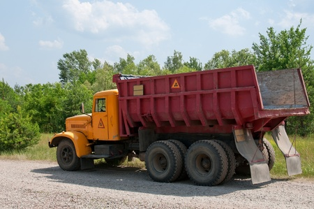 chernobyl: Dumper truck with radioactive sign. This car is eliminating radioactive contamination in Chernobyl area, Ukraine.