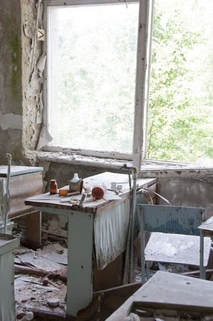 Chernobyl disaster results. This is chemistry classroom in abandoned school in small city Pripyat (about 5 kilometers form the Chernobyl nuclear station). photo