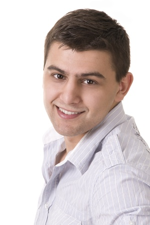 Casual man portrait - smiling over a white background photo