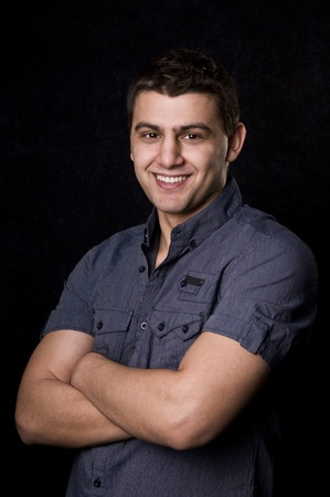 Casual caucasian man portrait on black background Stock Photo - 8982645