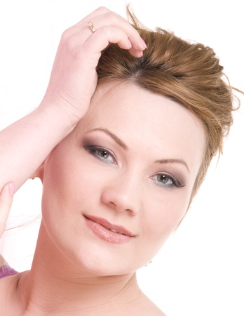 Portrait of attractive beauty mature woman with nice make-up photo