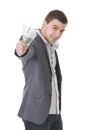 Young businessman offering money isolated ob white background. Focus on the maney