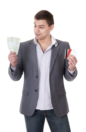 creditcards: business man chossing what is better encash money or cards