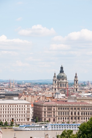 saint stephen cathedral: View from Budda to Pest and Saint Stephen cathedral, Budapest,Hungary Stock Photo