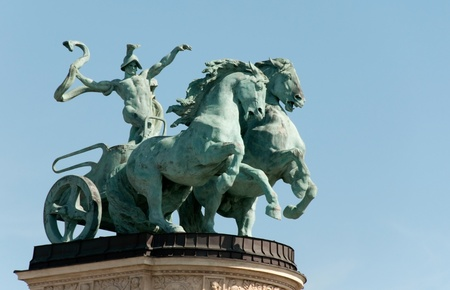 Symbolic figure of war - Heroes square Budapest, Hungary photo