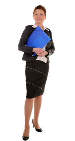 business woman holding reports and looking at camera. isolated on white. photo