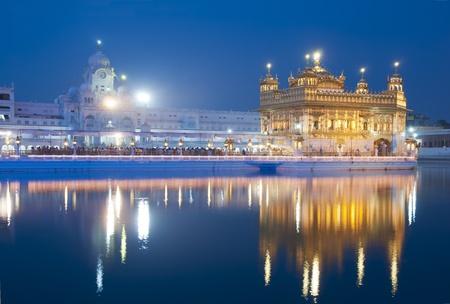 darbar: Golden Temple di Amritsar, Amritsar, vista notturna Archivio Fotografico