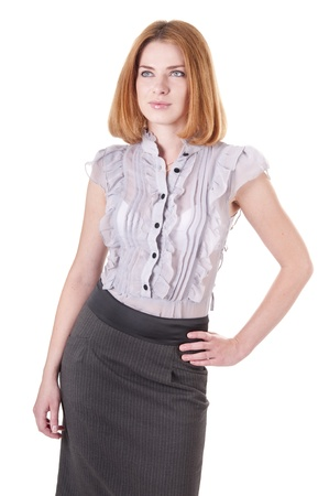 up skirt: Portrait beautiful young  looking up woman in blouse and skirt on white Stock Photo