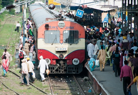 Amritsar, India - August 26, 2011 - People are boarding in the train