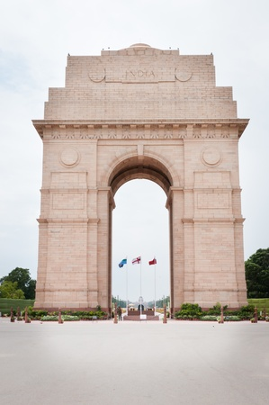India Gate memorial in New Dalhi with Presidents House and Rajpath on background photo