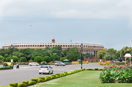 governing: Delhi, India, August 14, 2011- Indian parliament, view from Sansad Marg