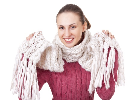 brune: Beautiful woman in winter sweater and scarf Stock Photo