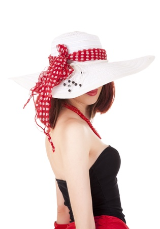 Fashion girl in retro style with big hat Stock Photo - 10752487