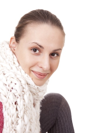 brune: Beautiful woman in winter scarf